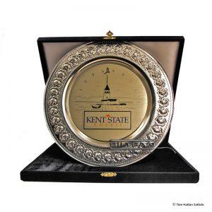 Kadife kutulu Alman gümüşü üzerine asit kumlama yazılı gümüş tabak plaket