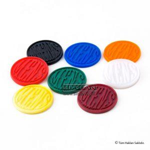 Kabartma yazılı plastik jeton marka
