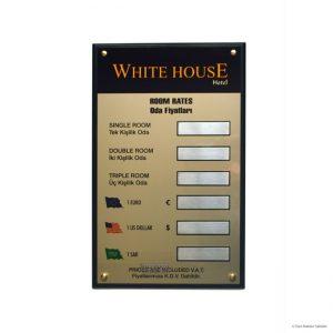 otel oda fiyat panosu, doviz kur tabelası whitehouse 6392