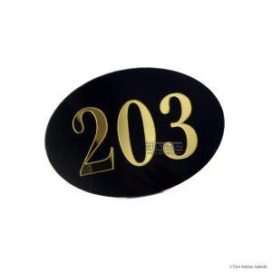 Pleksi kapı numarası siyah pleksi altın rakamlı oda numarası