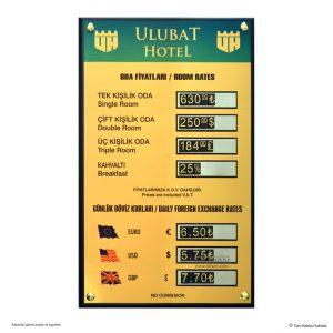 Otel oda fiyat panosu döviz kurları